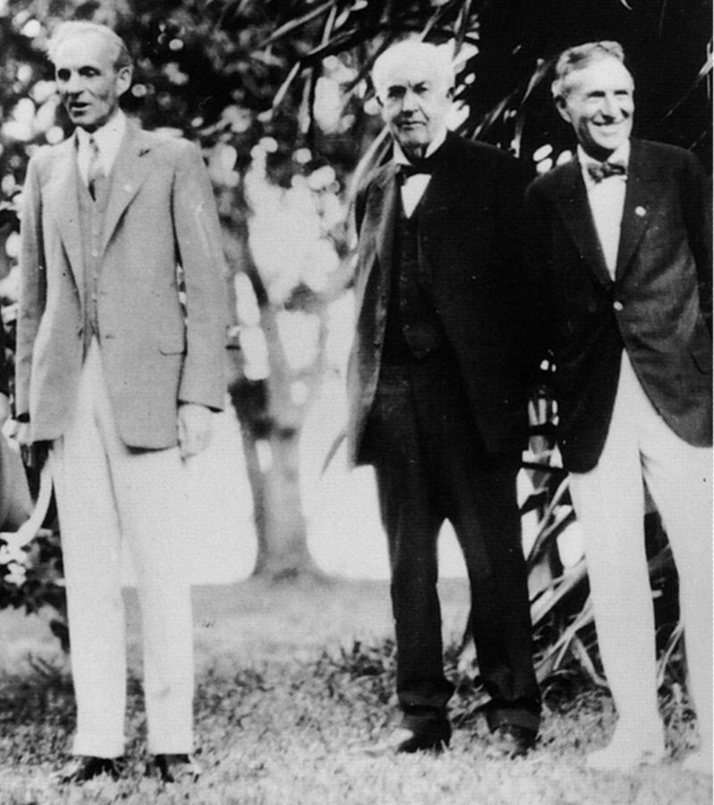 フォードとエジソンとファイアストーン(1929年2月11日、フロリダ州フォートマイヤーズ)