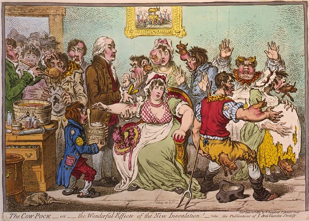 ジェームズ・ギルレーによる、当時の巷説を反映した風刺画(1802年)。種痘を受けた人々の体から牛が生えている。