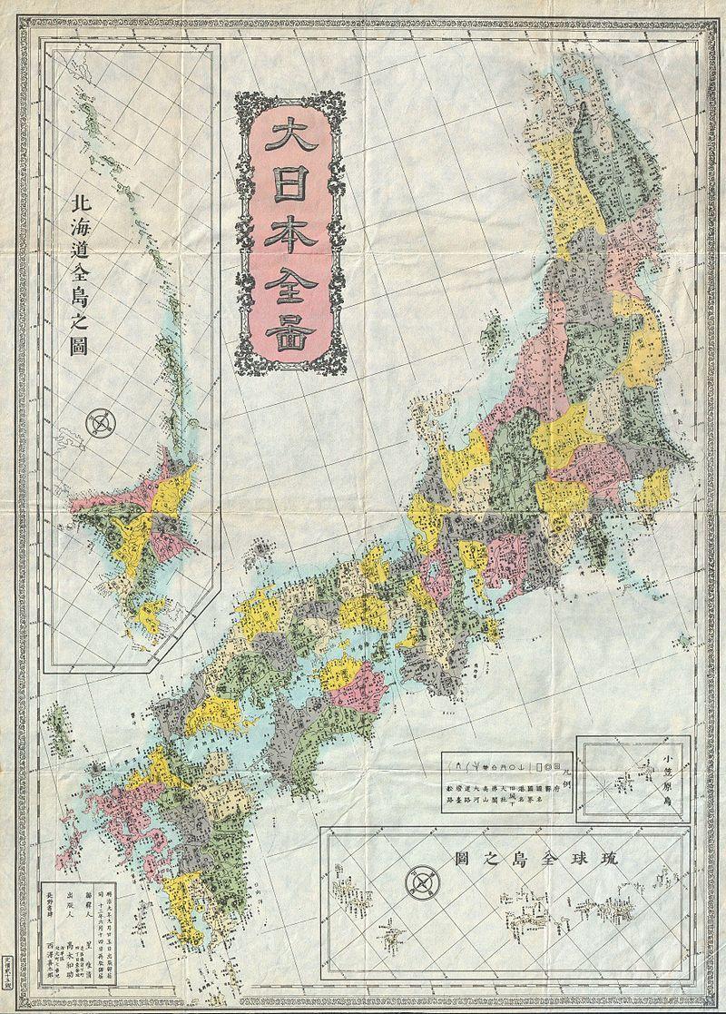 明治初期の令制国の配置図(1880年)