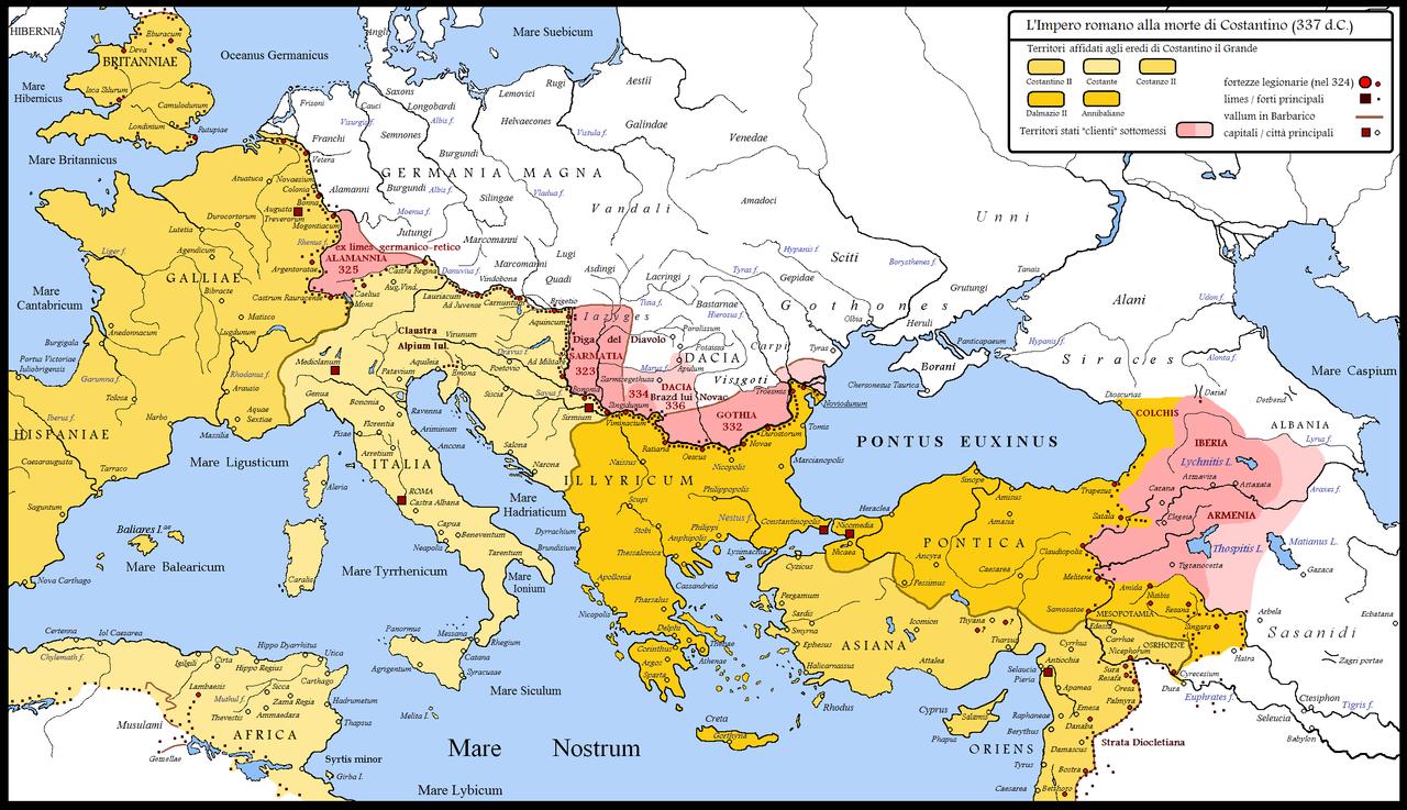 コンスタンティヌス帝の時代のローマ帝国の北部と東部の国境。