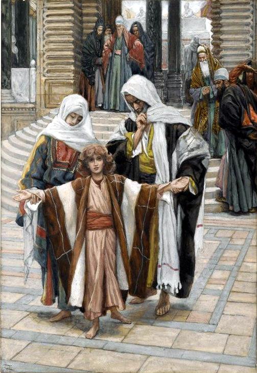 『神殿で発見されたイエス』 ジェームズ・ティソ