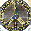「ヒッピー記念碑 」の彫刻の一部(米国イリノイ州)