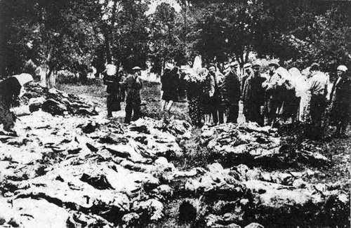 発掘された遺体の中で親戚を探しているヴィーンヌィツャの人々