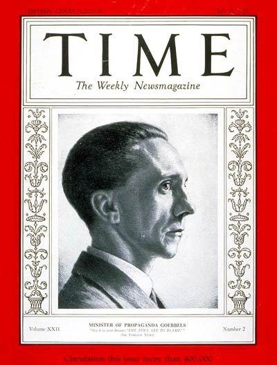 1933年7月10日号のタイム誌の表紙を飾ったゲッベルス