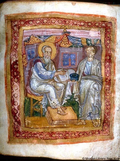 福音記者ヨハネとシノペのマルキオン(右)を描いた絵画(11世紀頃・ニューヨーク・モルガン図書館蔵)