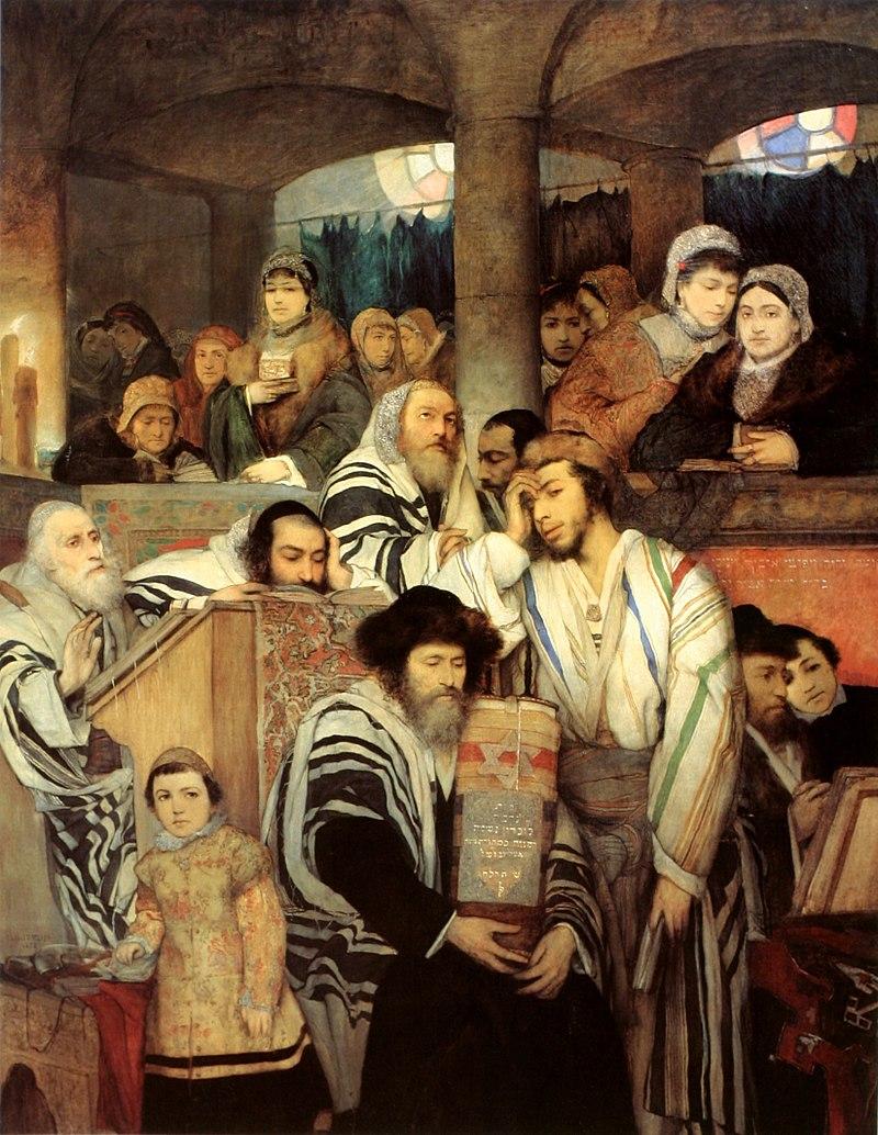 『シナゴーグで祈るユダヤ人』 M・Gottlieb (1878)