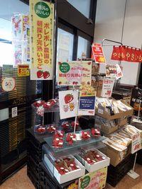 【写真】アピタ君津店の店頭に並んだポレポレ苺のパックと宣伝のぼり