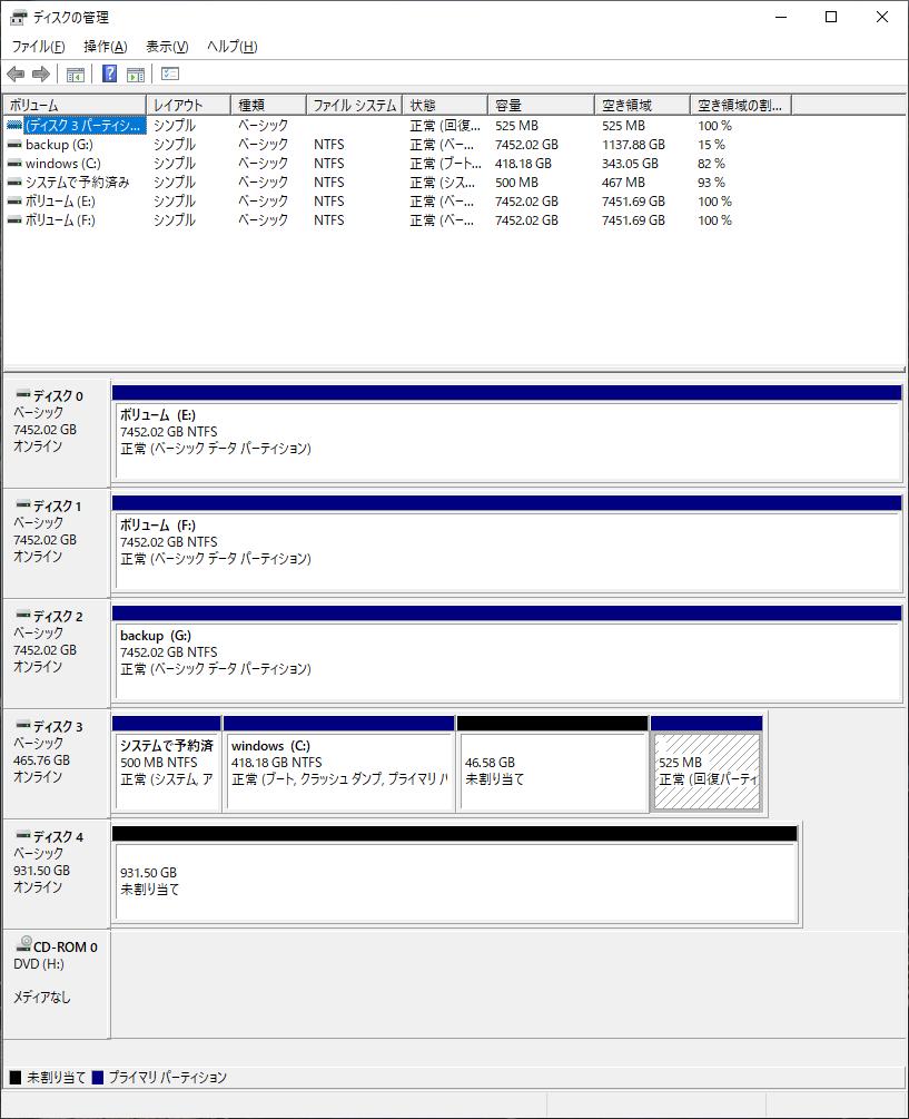 SSD追加後のディスク状態