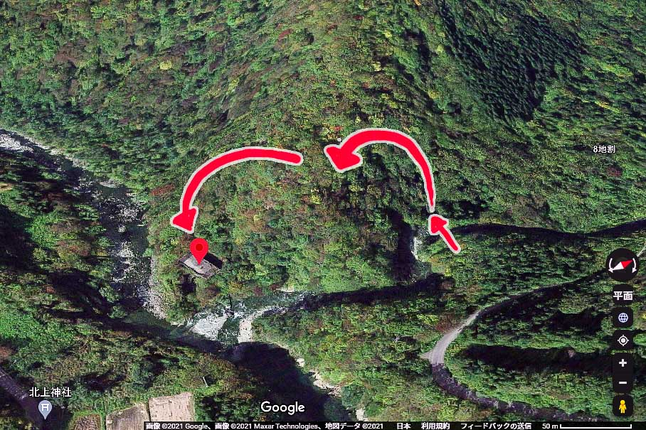 旧和賀川水力発電所の山越えルートの3Dマップ