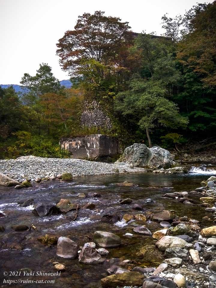 旧和賀川水力発電所の渡河ルート
