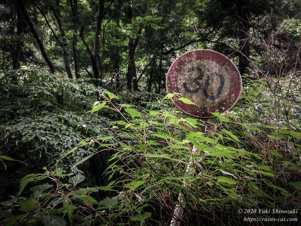 畑トンネル(心霊スポット) 南側の山道の脇に倒れかかっている朽ち果てた30キロ制限の道路標識