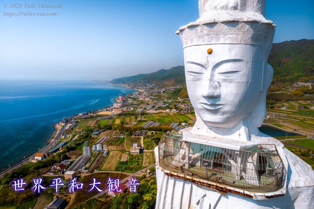 世界平和大観音像のバストアップ写真(空撮)