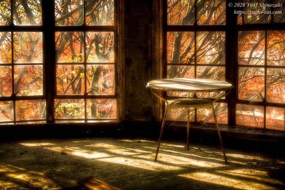 テラスには陽の光が差し込み、丸テーブルを明るく照らしている。窓から見える木々には、摩耶山の紅葉が赤く燃えている。