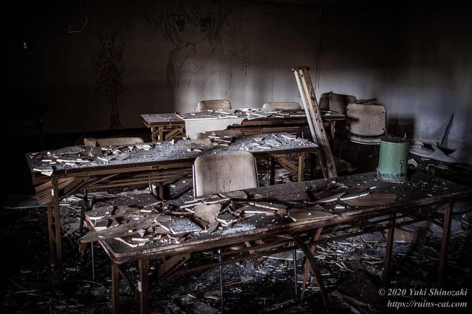 ミーティングルーム内部。机の上には粉々の壁の破片が散らばっている