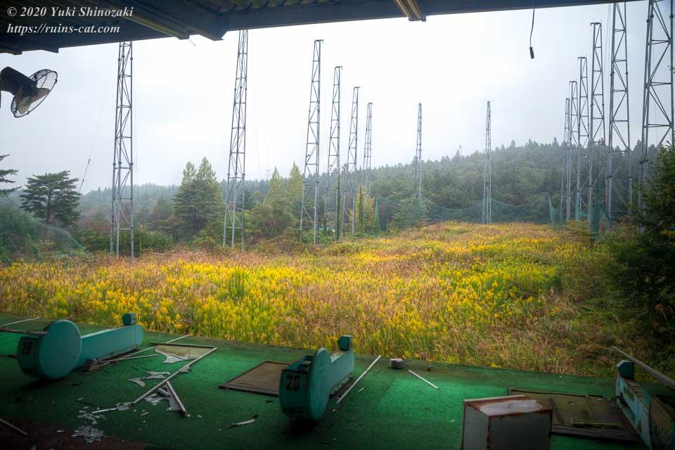 レジャーパークゴルフ場(打ちっぱなし)。フィールドは一面黄色いブタクサで覆われている。