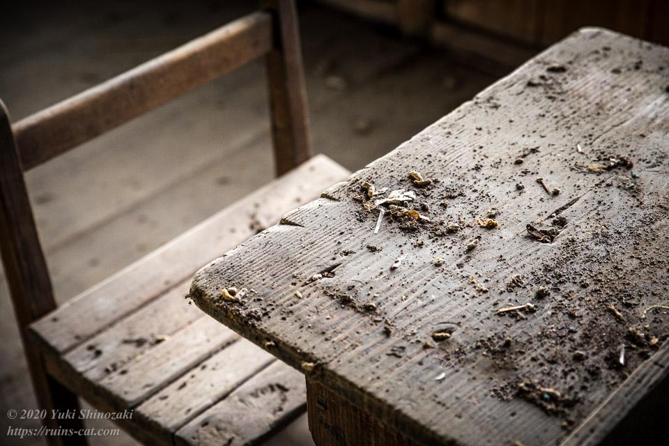 生徒用の机の上には塵が降り積もっている