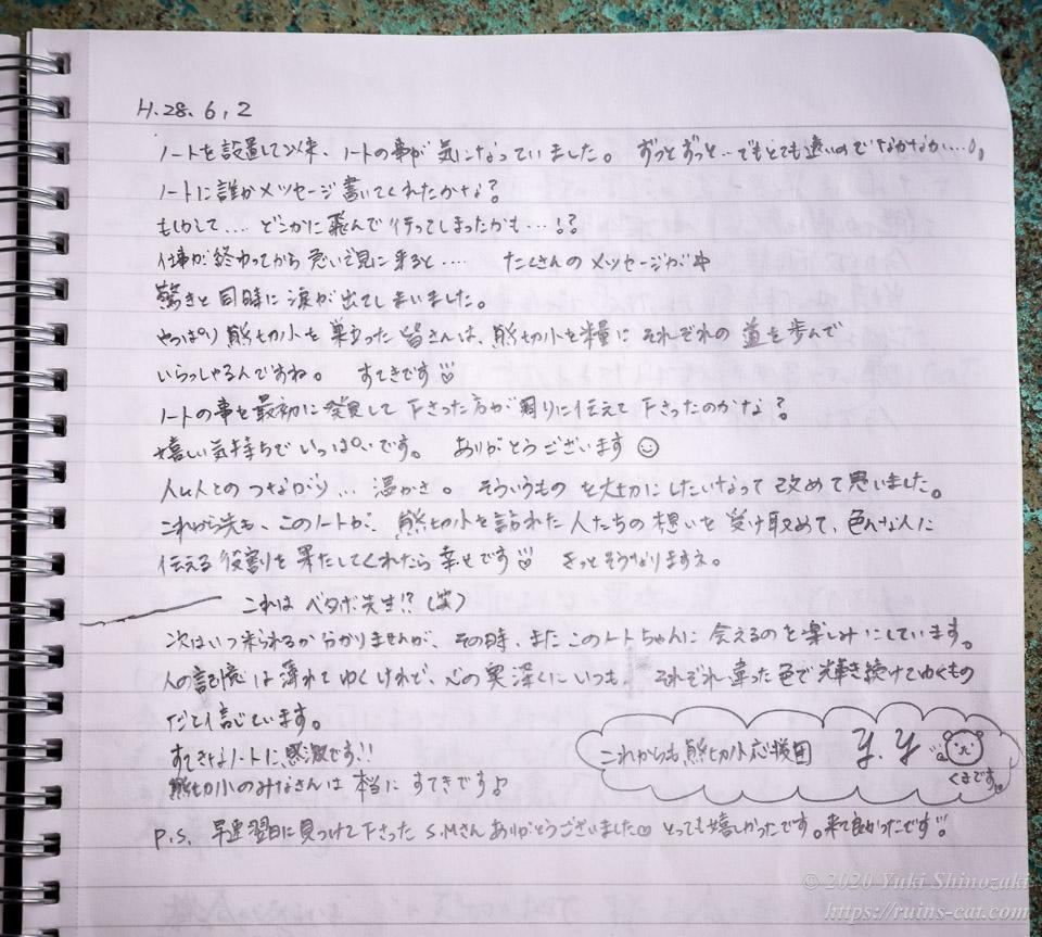 「熊切小ノート」ノート設置者のメッセージ
