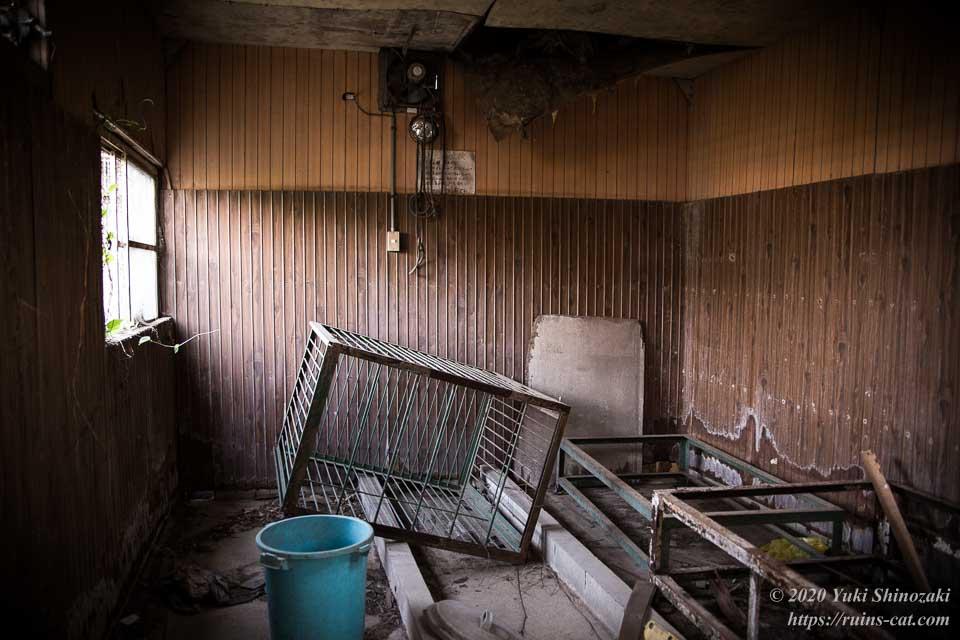 大型犬用のケージが残されているアフリカケンネルの畜舎内部