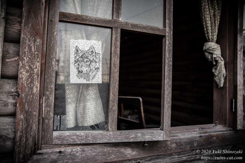 アフリカケンネルのログハウス。窓にはシベリアンハスキーのシールが貼られている。