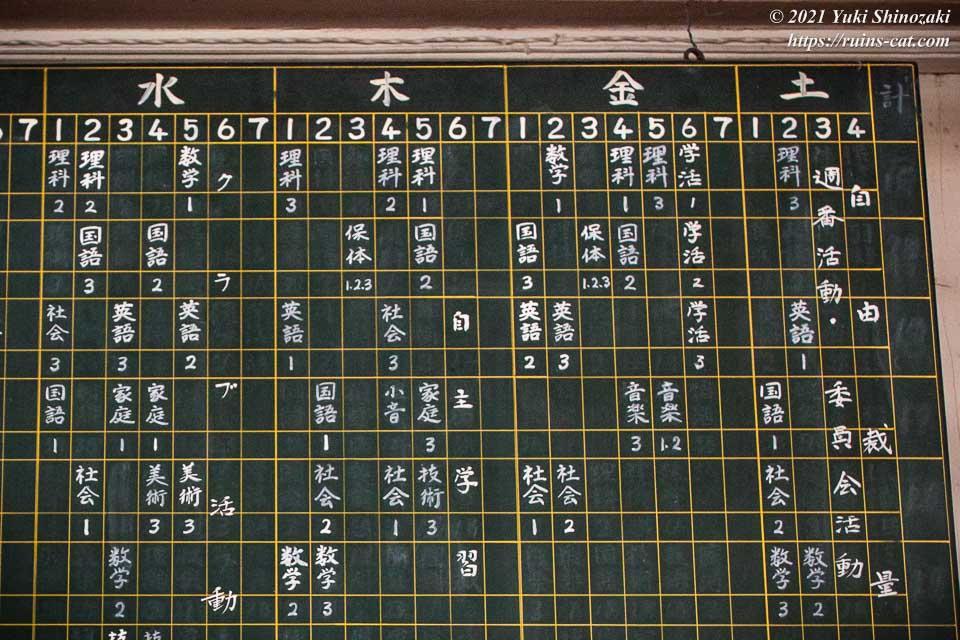 小倉沢中学校の昭和58年度の授業時間割
