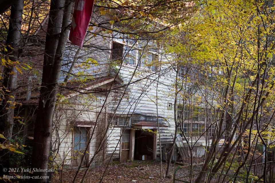 校庭側から見た小倉沢小中学校の白い校舎