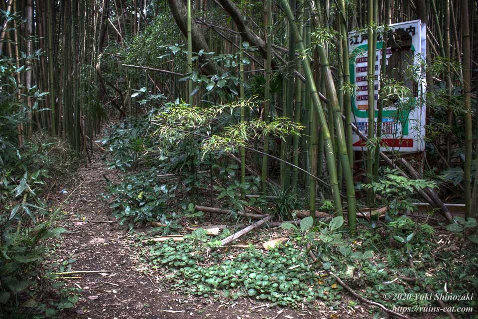 門をくぐり抜けて最初の分岐。竹やぶに隠れるようにしてホテル江戸城の案内看板がある。