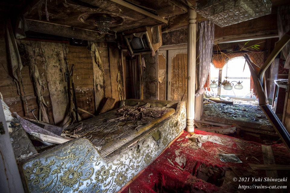 モーテル風林 特デラックス洋室「古都」の寝室