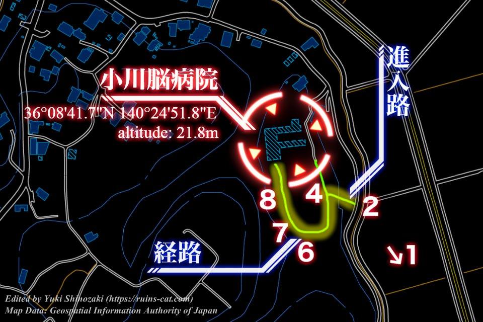 心霊スポット「小川脳病院(聖仁会小川病院)」への詳しい行き方を示した地図(写真番号付き)