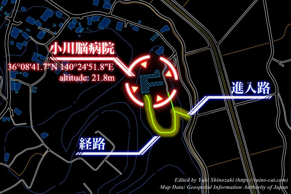 小川脳病院(聖仁会小川病院 心霊スポット) 詳しい行き方を示した地図