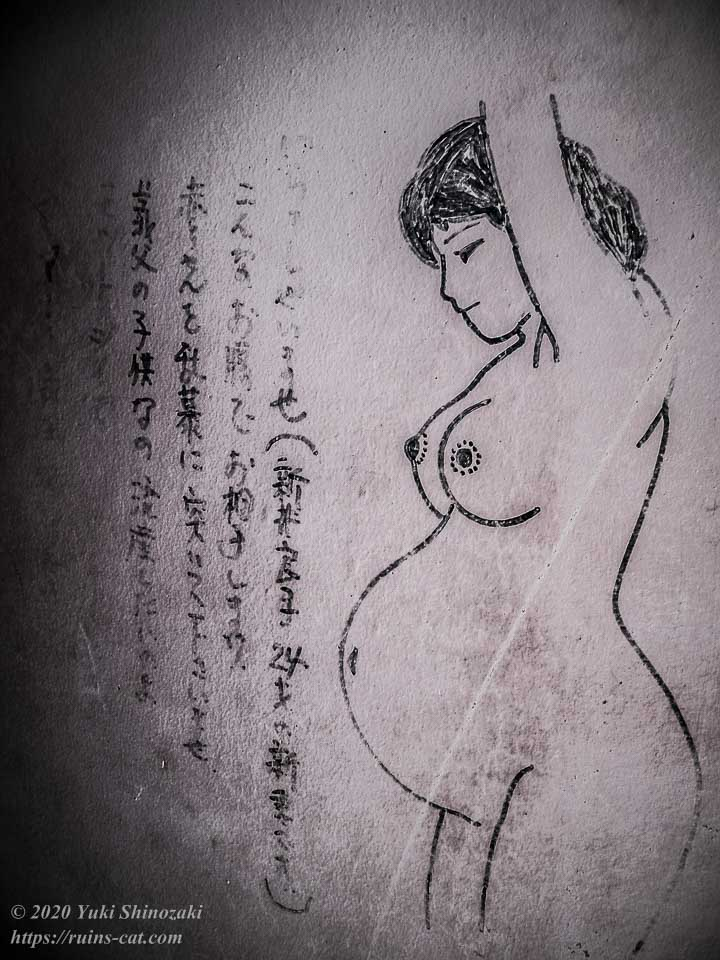ホテルセリーヌの「新井良子」の妊婦絵(24才・新妻)。