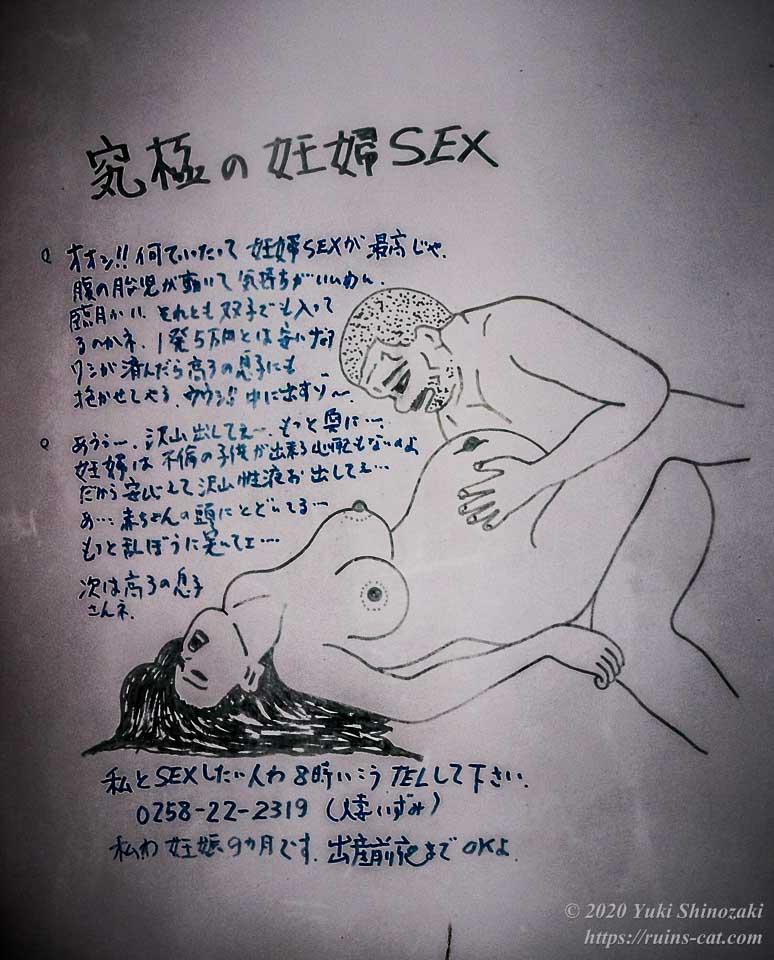 ホテルセリーヌの人妻いずみ(妊娠9ヶ月)と坊主のオッサンの絡み絵「究極の妊婦SEX」。