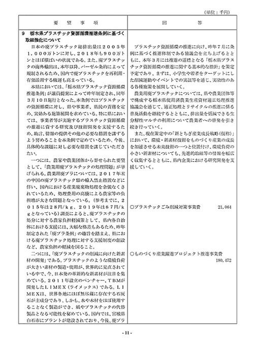 栃木県議会「民主市民クラブ」2021年度_当初<政策推進・予算化要望>知事回答!13