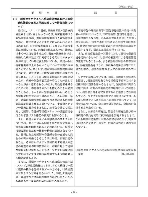 栃木県議会「民主市民クラブ」2021年度_当初<政策推進・予算化要望>知事回答!21