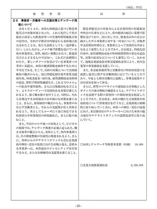 栃木県議会「民主市民クラブ」2021年度_当初<政策推進・予算化要望>知事回答!24