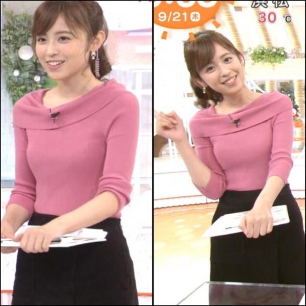 小ぶりでも形の良さそうなニットおっぱいも可愛い久慈暁子!! (1)