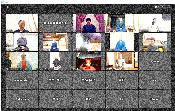 600オンライン坐禅会を開催している様子加工