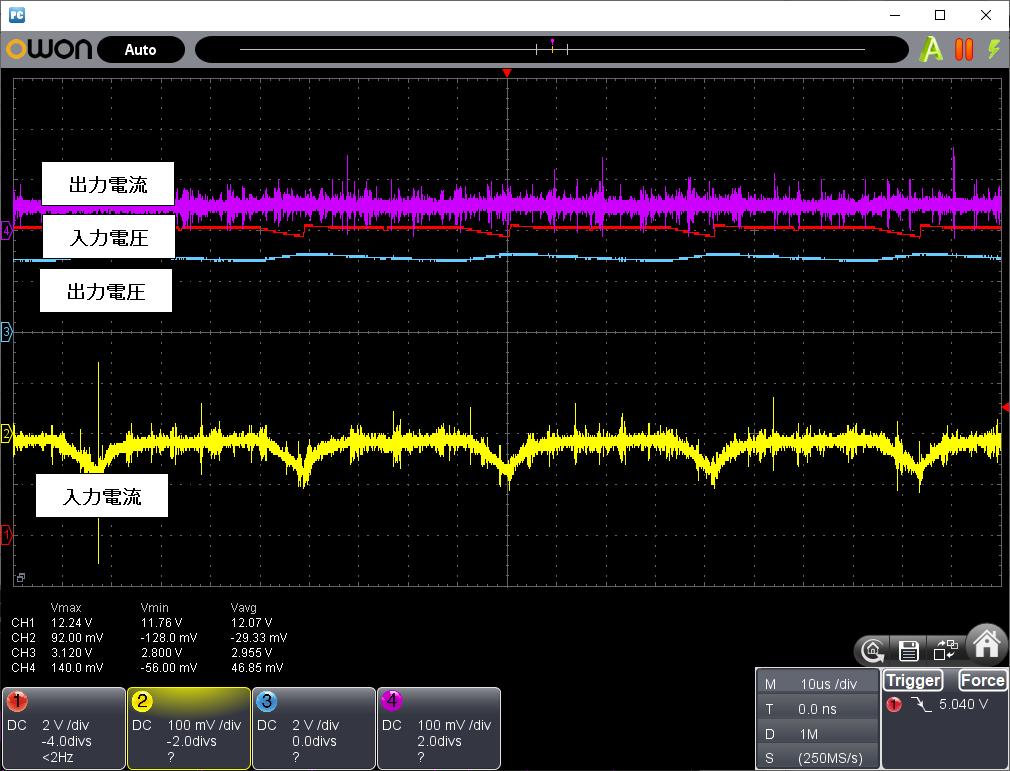 DCDCバックコンバータの変換効率(LM2596)観測入力12V出力3V0.5A