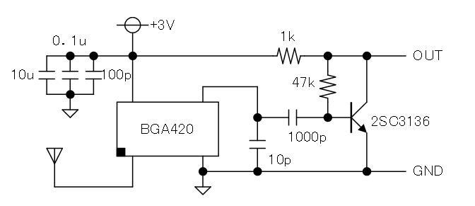 トイラジ用キャリア周波数カウンタ製作(BGA420RFプリアンプ)回路図