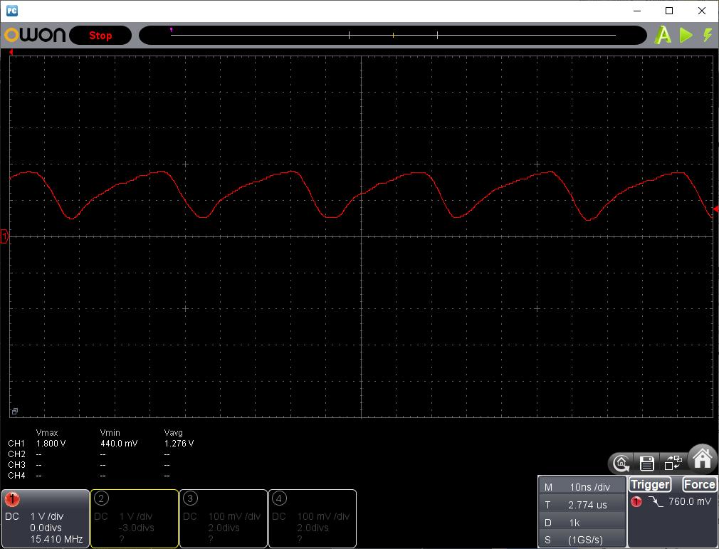 トイラジ用キャリア周波数カウンタ製作(BGA420RFプリアンプ)出力波形