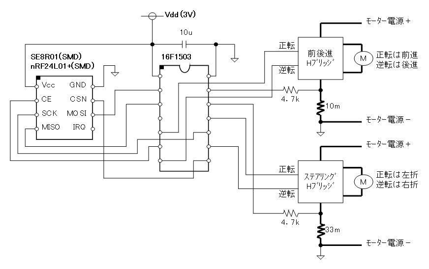 2.4GHzラジコン用ファームウェア(フルアクションタイプ対応)換装回路図車体側SMDタイプ)