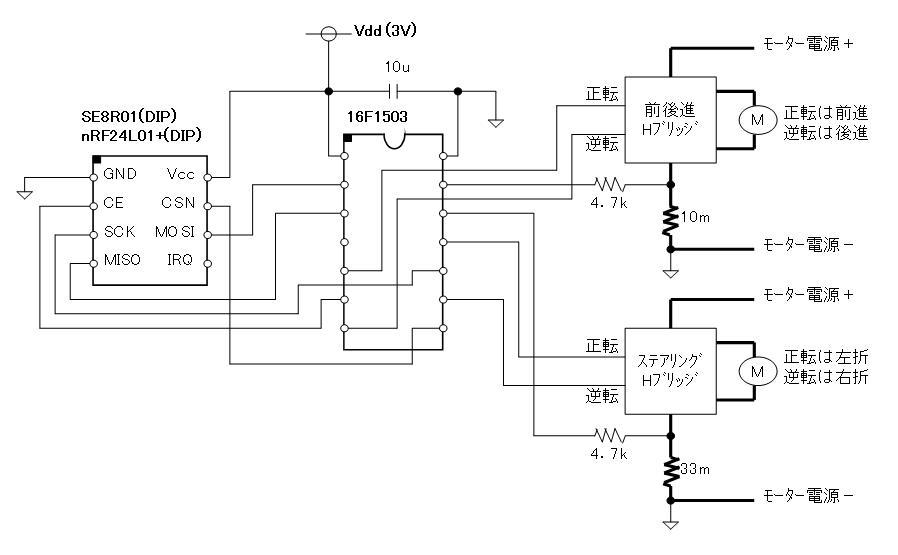 2.4GHzラジコン用ファームウェア(フルアクションタイプ対応)換装回路図車体側DIPタイプ)