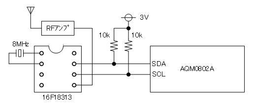 トイラジ用キャリア周波数カウンタ製作(LCD接続)回路図