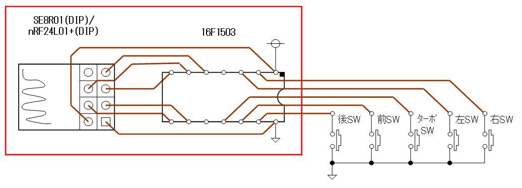 トイラジ換装用2.4GHz無線アセンブリの頒布FAコントローラ側DIP回路図