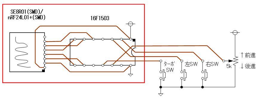 トイラジ換装用2.4GHz無線アセンブリの頒布CCPコントローラ側SMD回路図