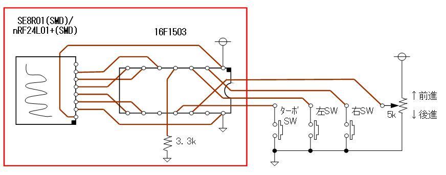 トイラジ換装用2.4GHz無線アセンブリの頒布CCPコントローラ側SMD回路図新