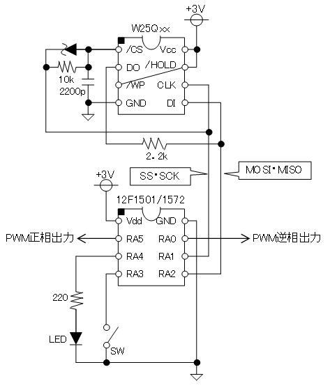 PIC電子オルゴールVer6_3のリリース(2線SPIのサポート)回路図W25Q