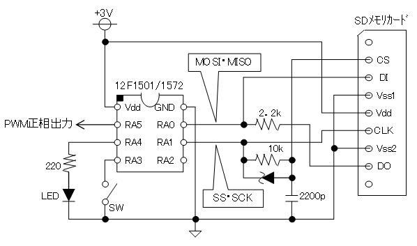 PIC電子オルゴールVer6_3のリリース(2線SPIのサポート)回路図SD