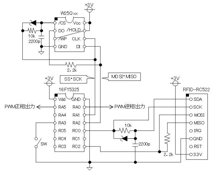 PIC電子オルゴールVer6_3のリリース(2線SPIのサポート)回路図RC522