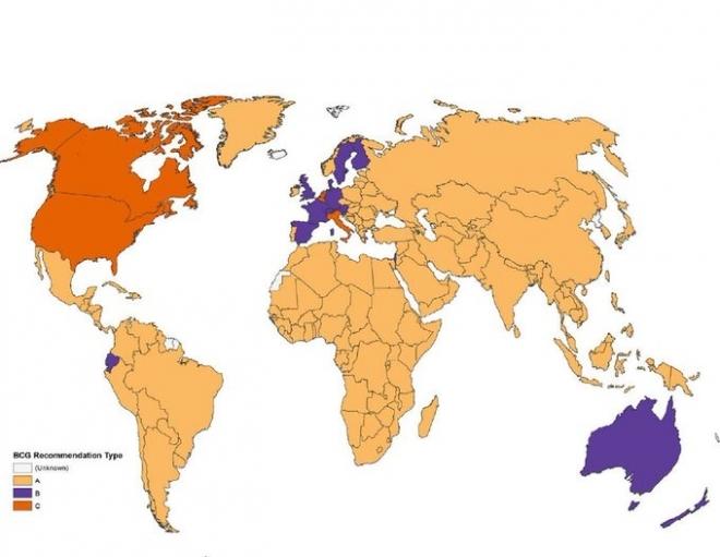 ジョンズ・ホプキンズ大学のBCG世界地図