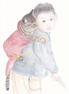 おんぶ猫色鉛筆画
